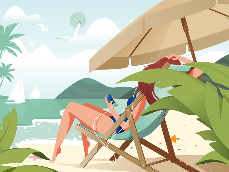 Sunkissed: a collection of refreshing summer illustrations:Girl relaxing on beach by Kit8