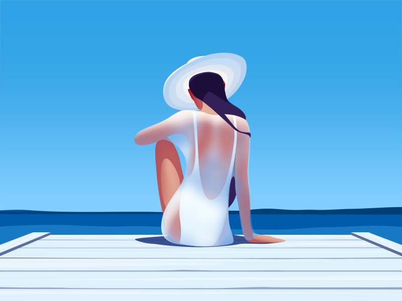 Sunkissed: a collection of refreshing summer illustrations:Catching the sun by Ksenia Shokorova