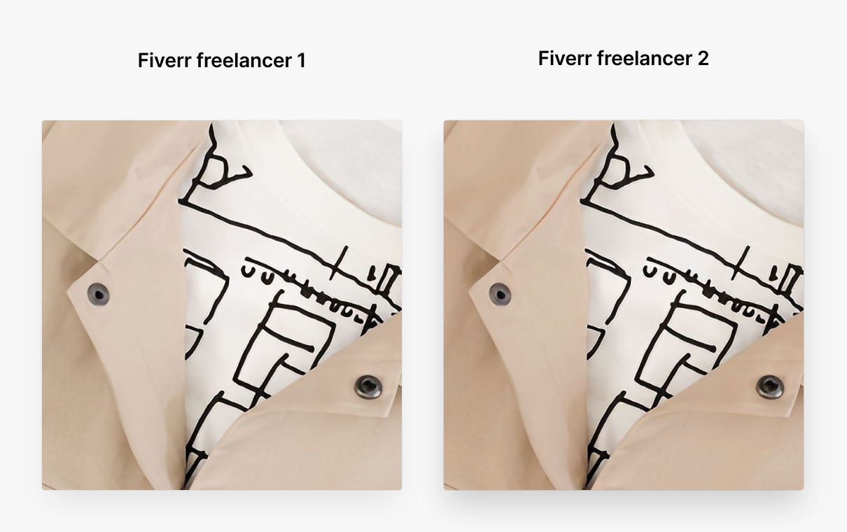 How To Enlarge an Image Without Losing Quality. Сollage two hipster outfit versions: upscaling by fiverr freelancers