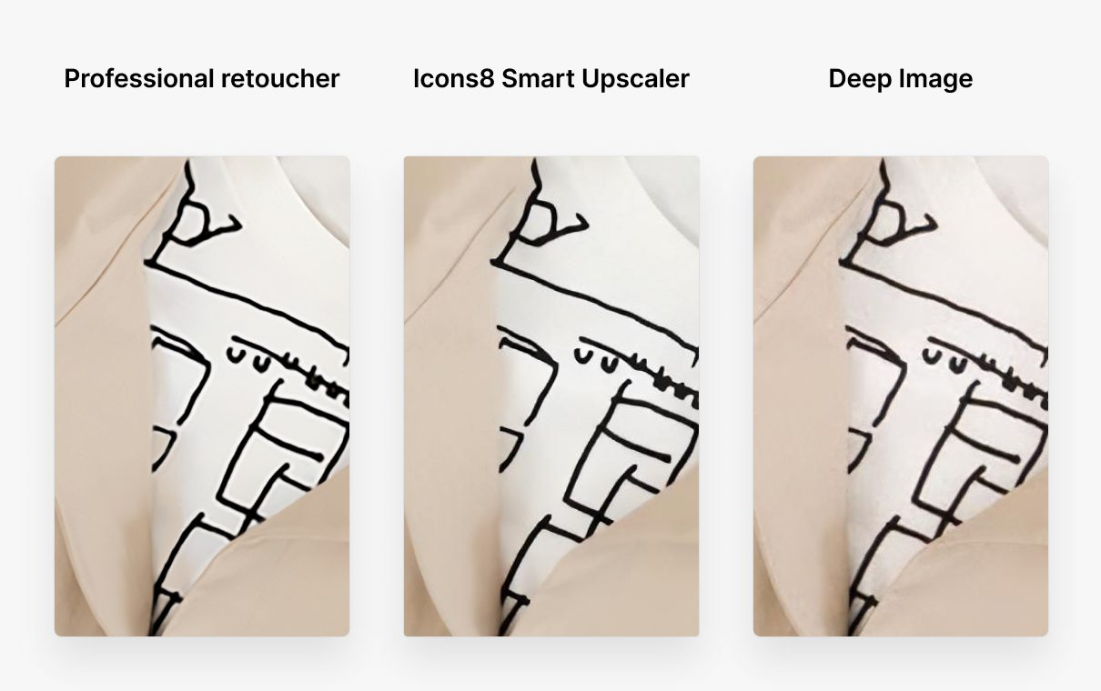 How To Enlarge an Image Without Losing Quality. Сollage three hipster outfit versions: upscaling by professional retoucher, Icons8 Smart Upscaler and Deep Image