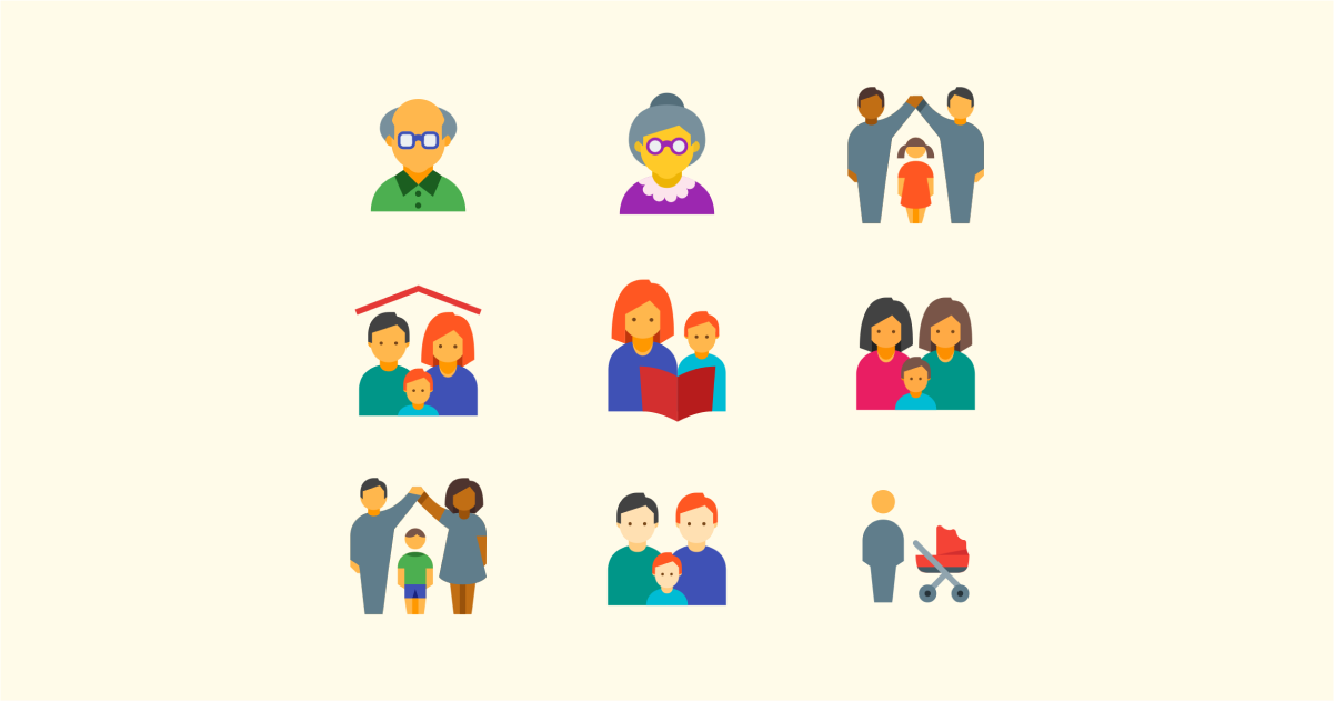 Happily Ever After: a collection of illustrations, icons and photos for Parents' Day: Family icons in Color style