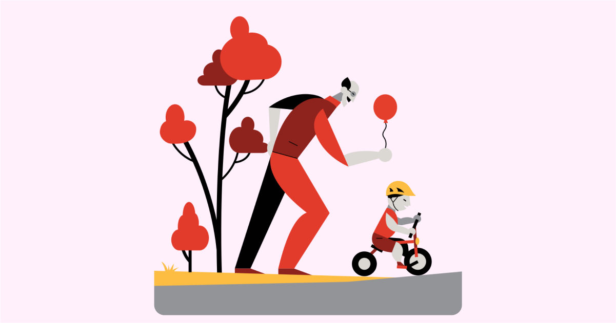 Happily Ever After: a collection of illustrations, icons and photos for Parents' Day: Child care in Burgundy style