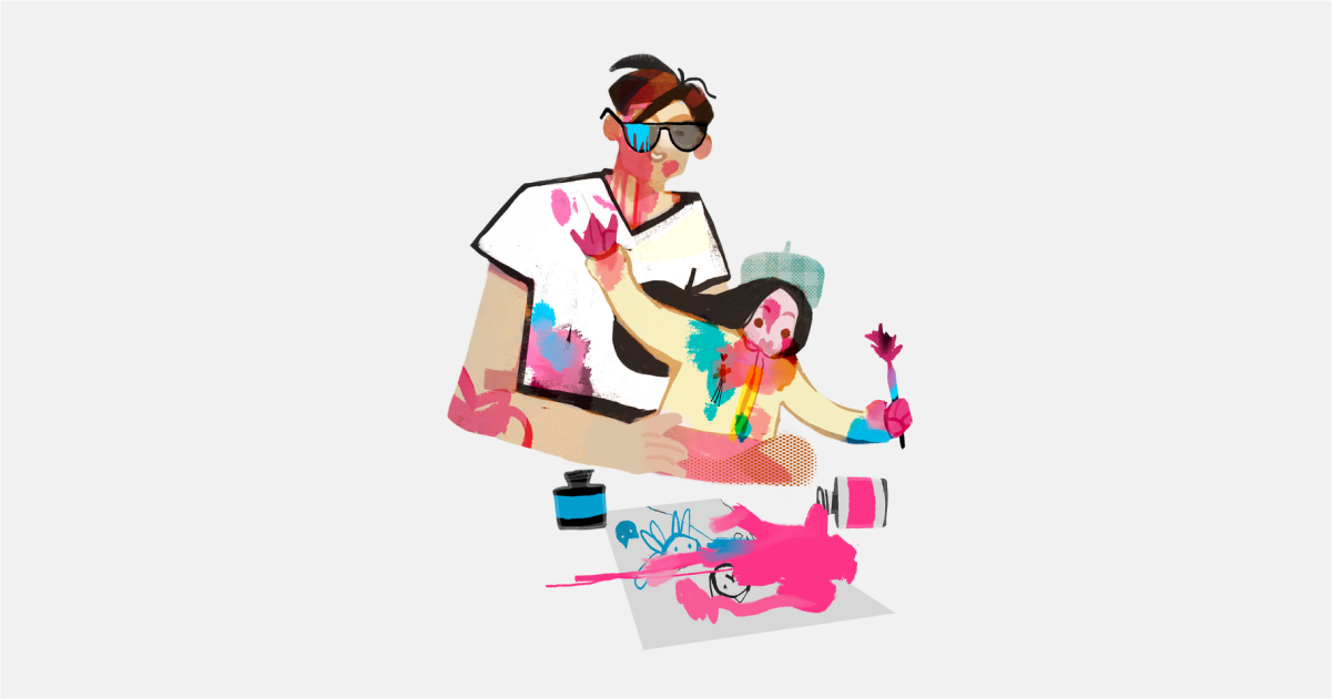 Happily Ever After: a collection of illustrations, icons and photos for Parents' Day: Drawing with dad in Fabulous style
