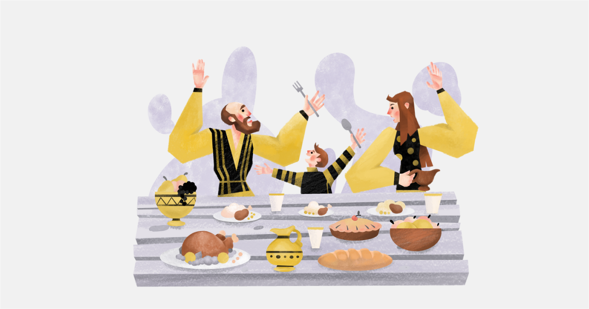 Happily Ever After: a collection of illustrations, icons and photos for Parents' Day: Family dinner in Family style