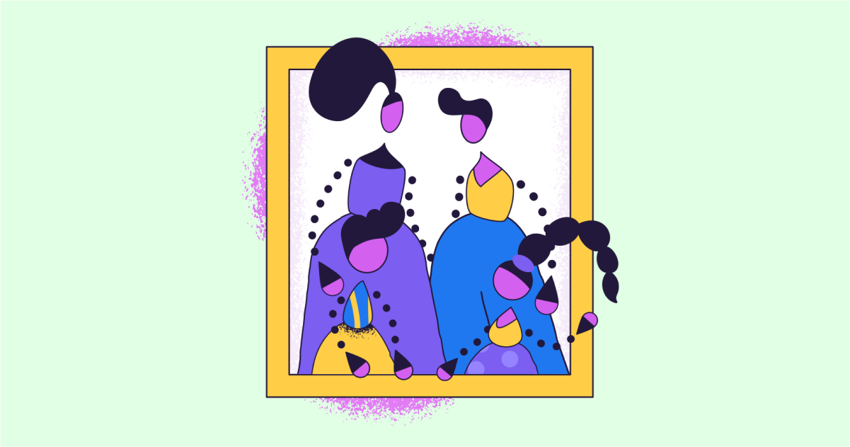 Happily Ever After: a collection of illustrations, icons and photos for Parents' Day: Family photo in Conifer style