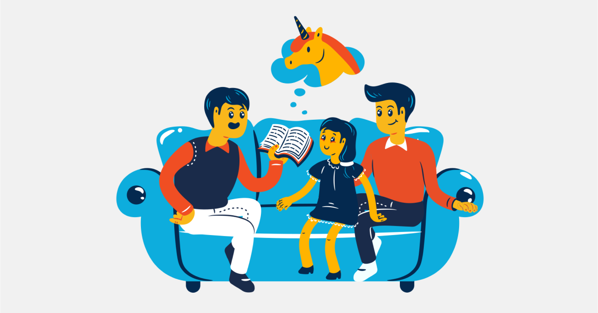 Happily Ever After: a collection of illustrations, icons and photos for Parents' Day: Family reading in Flame style
