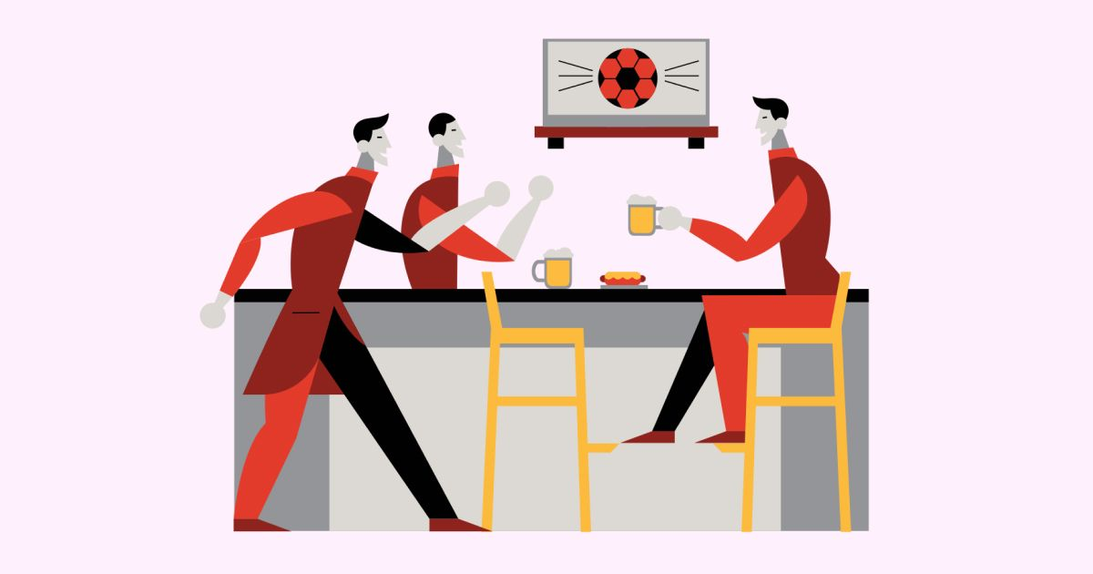 Friends Only: a special collection of Friendship Day images: Friends in a sports bar illustration
