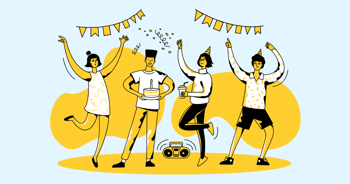 Friends Only: a special collection of Friendship Day images: Teen party illustration Taxi style