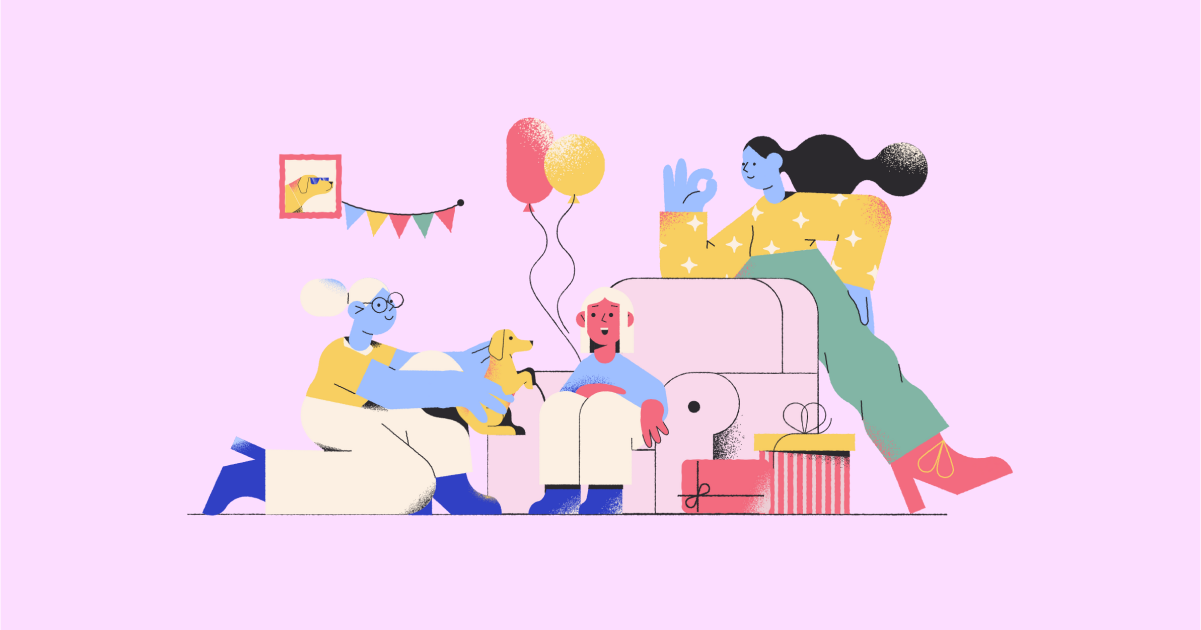 Happily Ever After: a collection of illustrations, icons and photos for Parents' Day: Surprise party in Pablo style