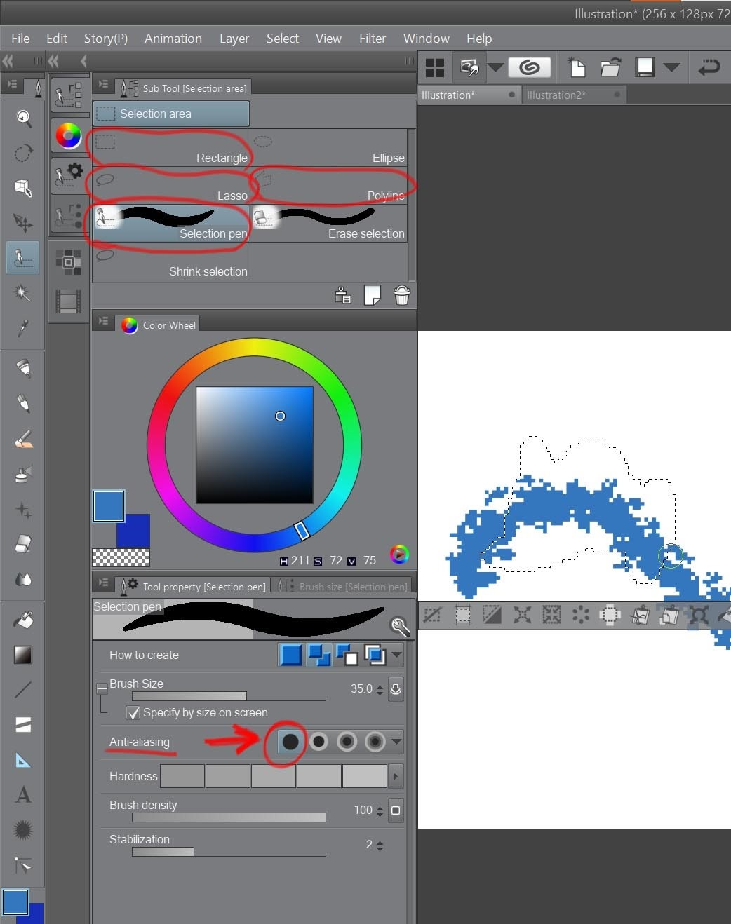 How to create a beautiful Pixel Art environment in Clip Studio Paint: Prepare selection tools