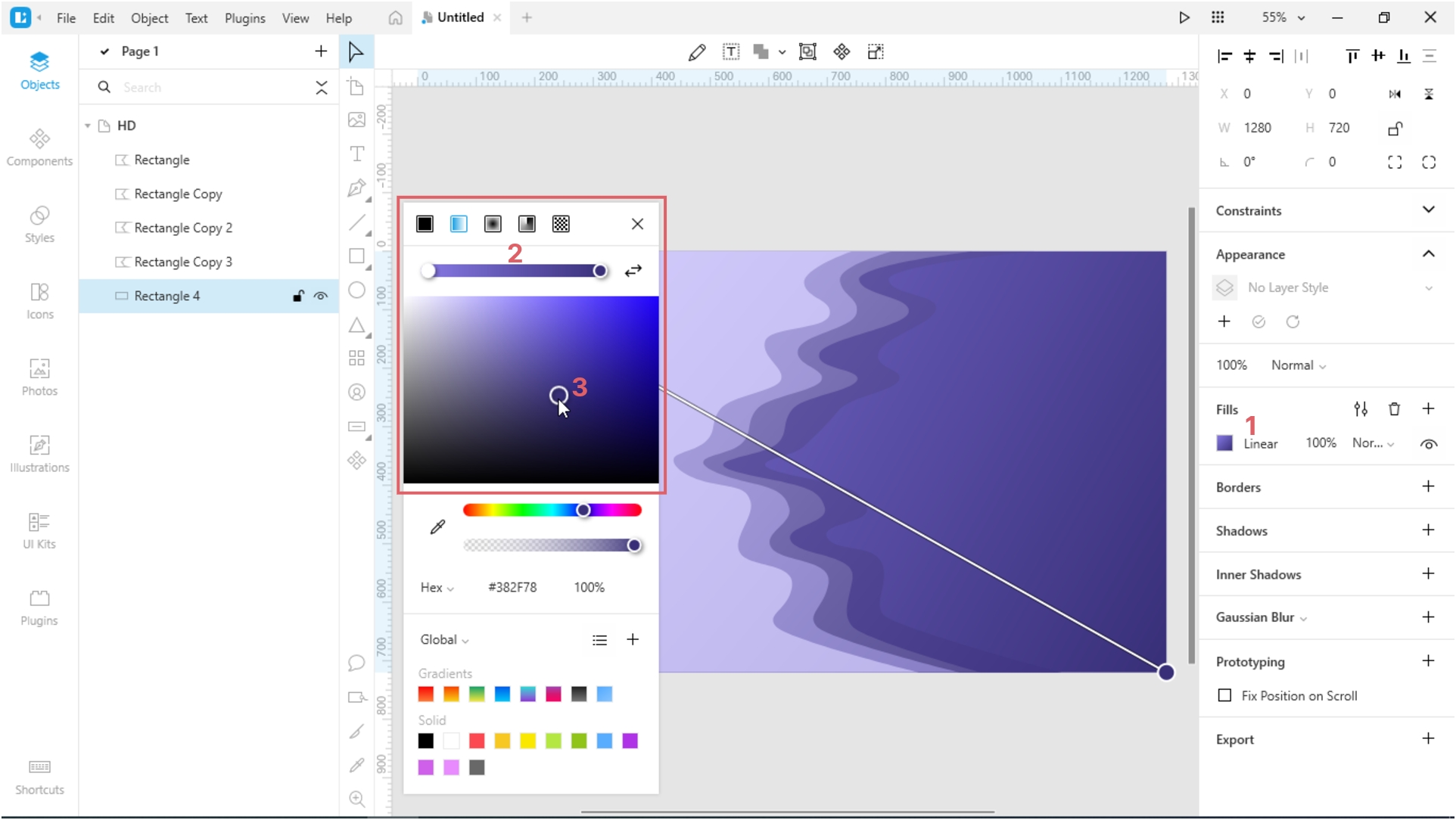 How to Create a Paper Cut-Out Effect in Lunacy: Adjust the color of the rectangle