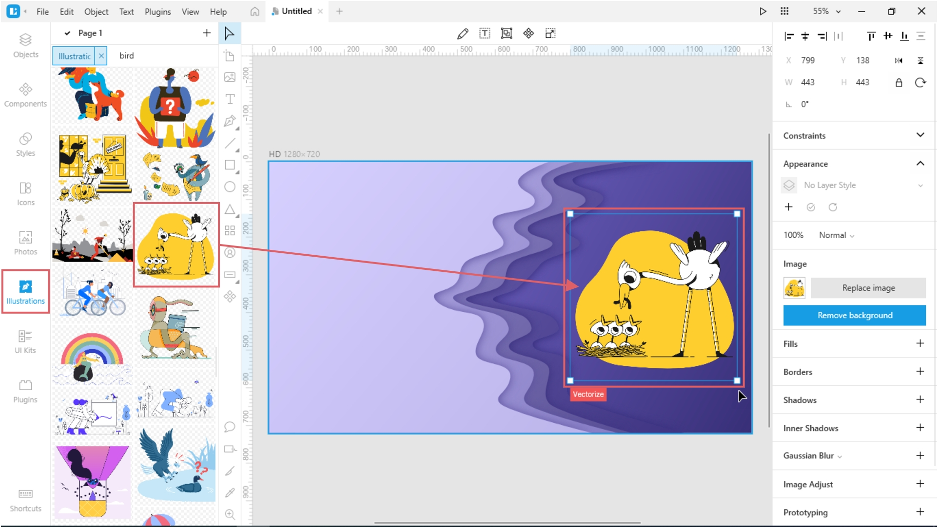 How to Create a Paper Cut-Out Effect in Lunacy: Add a bright illustration
