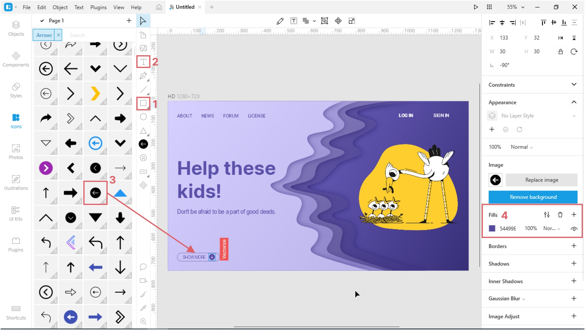 How to Create a Paper Cut-Out Effect in Lunacy: add a button with text and an icon