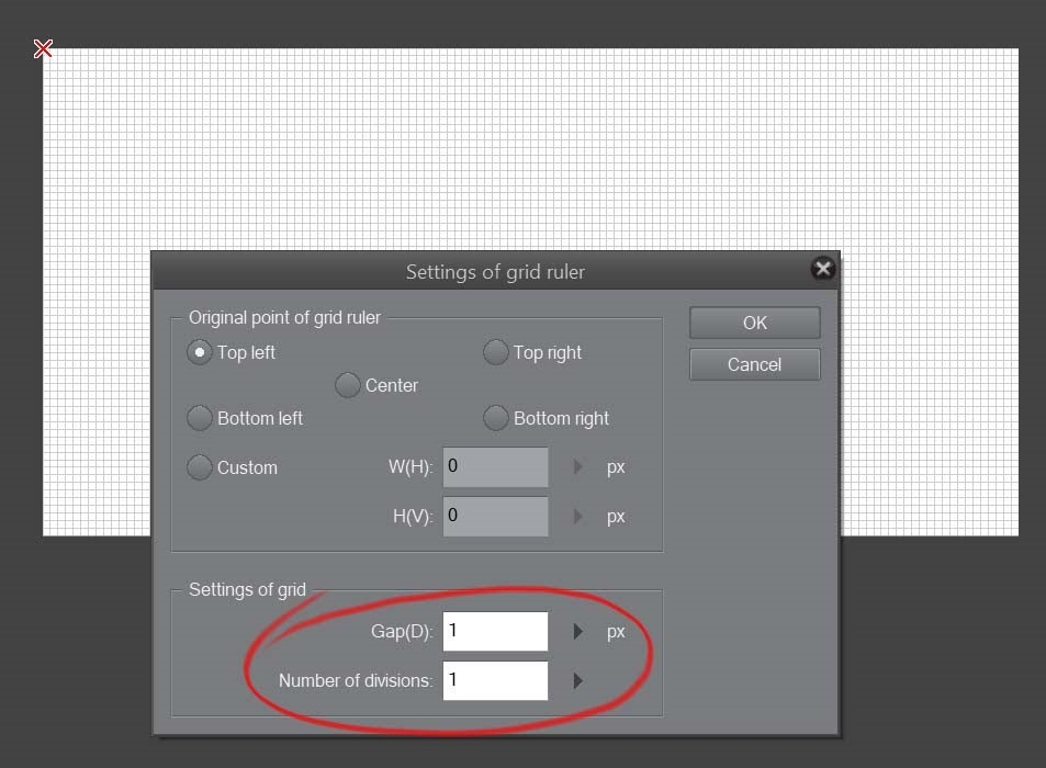 How to create a beautiful Pixel Art environment in Clip Studio Paint: grid size