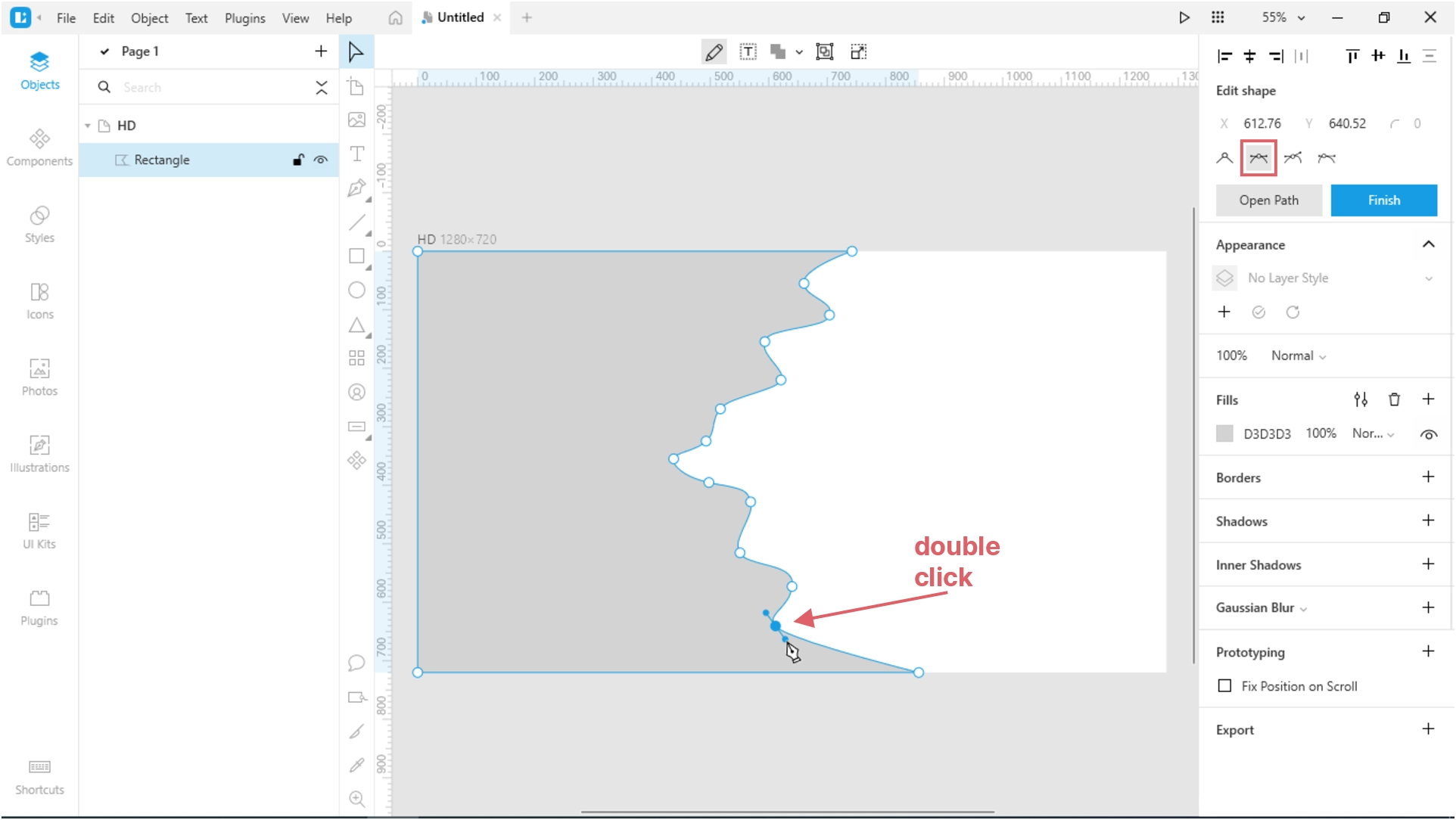 How to Create a Paper Cut-Out Effect in Lunacy: Change the type of all points to mirrored.