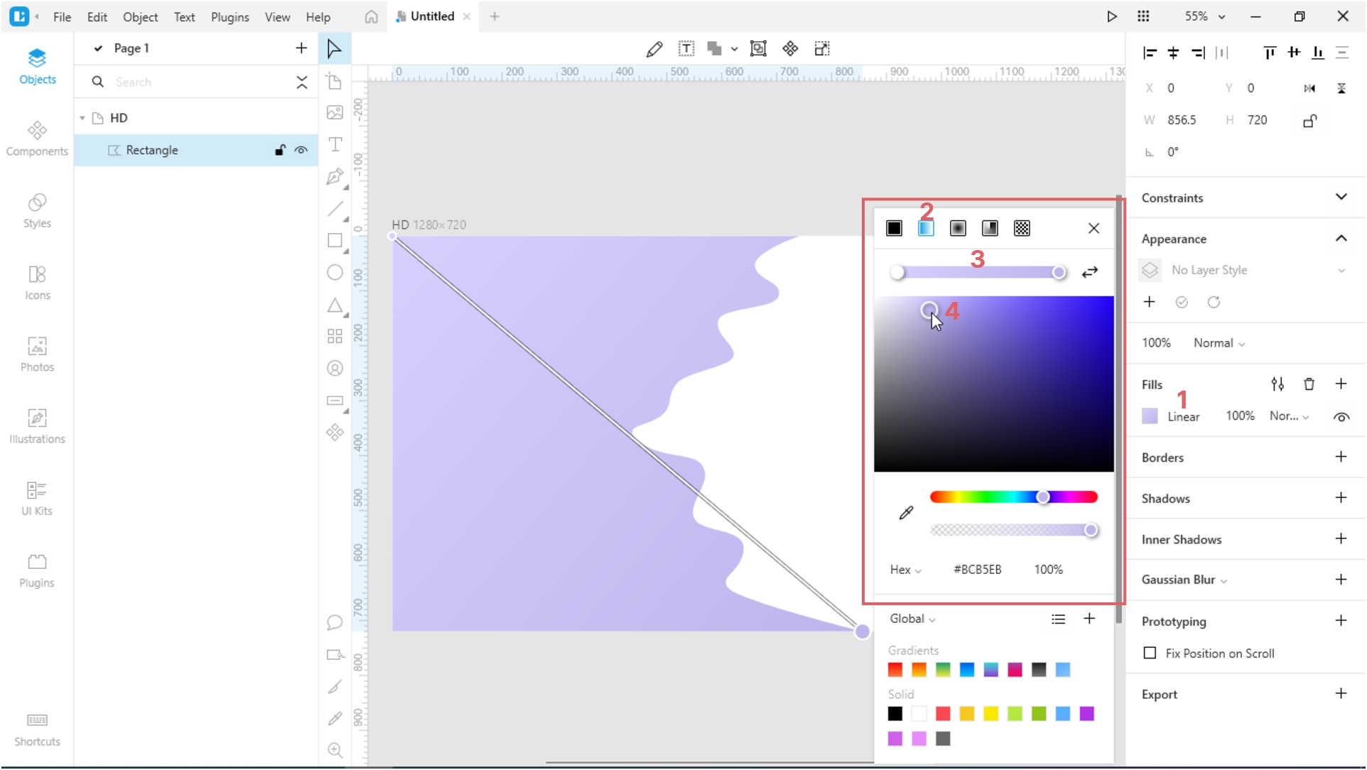 How to Create a Paper Cut-Out Effect in Lunacy: Change the color of the shape.