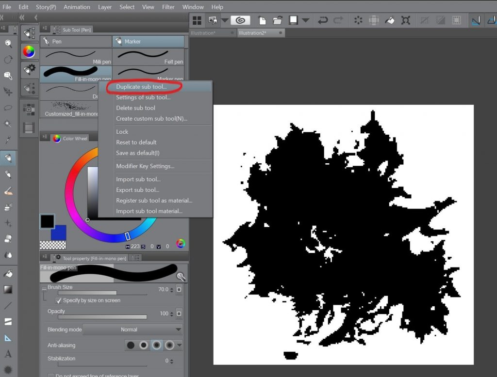 How to create a beautiful Pixel Art environment in Clip Studio Paint: Pen Sub Tool