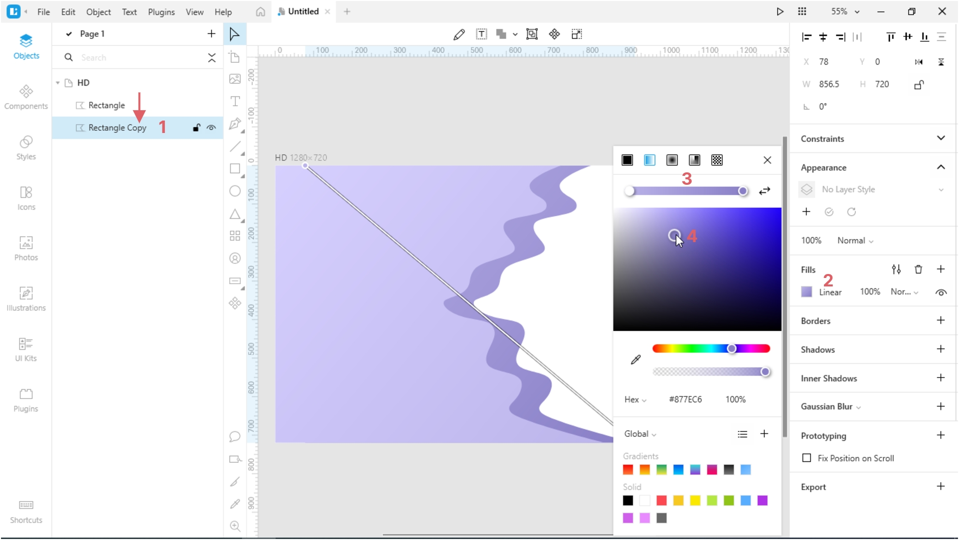 How to Create a Paper Cut-Out Effect in Lunacy: linear gradient