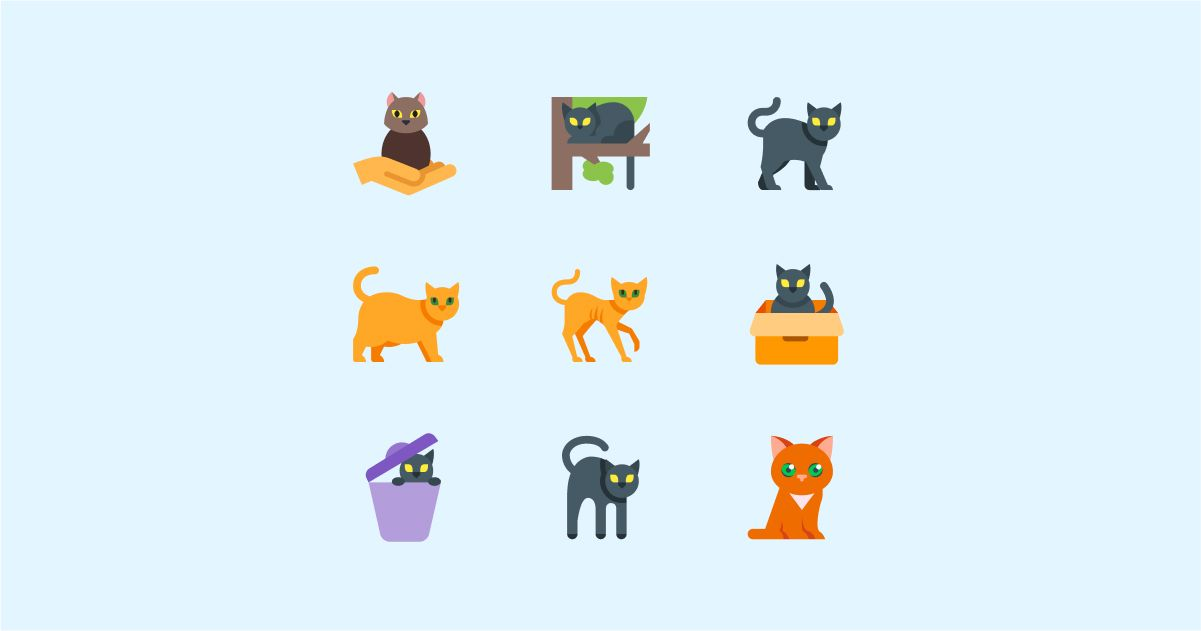 Catgratulations: special collection of frisky graphics for International Cat Day: Color style cats