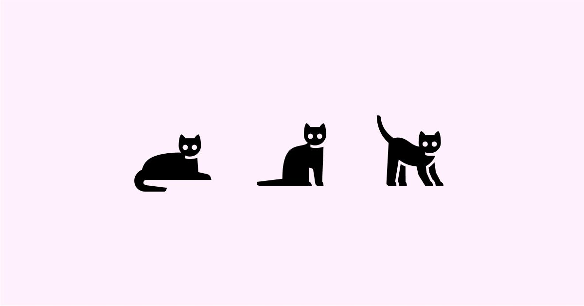 Catgratulations: special collection of frisky graphics for International Cat Day: Glyph Neue style cats