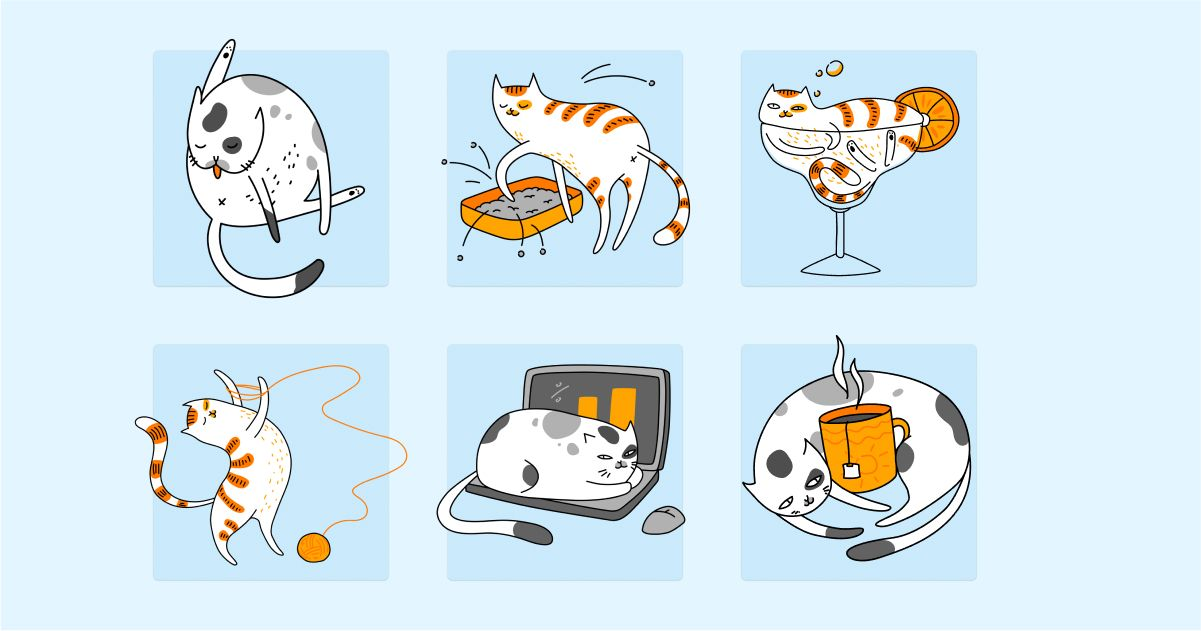 Catgratulations: special collection of frisky graphics for International Cat Day: Purr cat illustrations