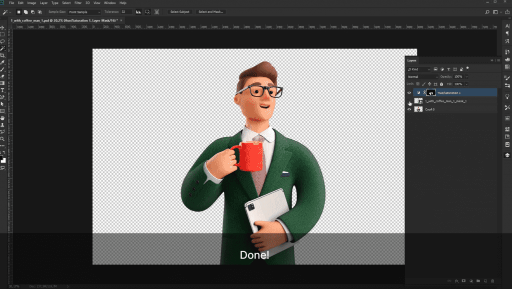 How to recolor 3D illustrations by Icons8 in Photoshop: done