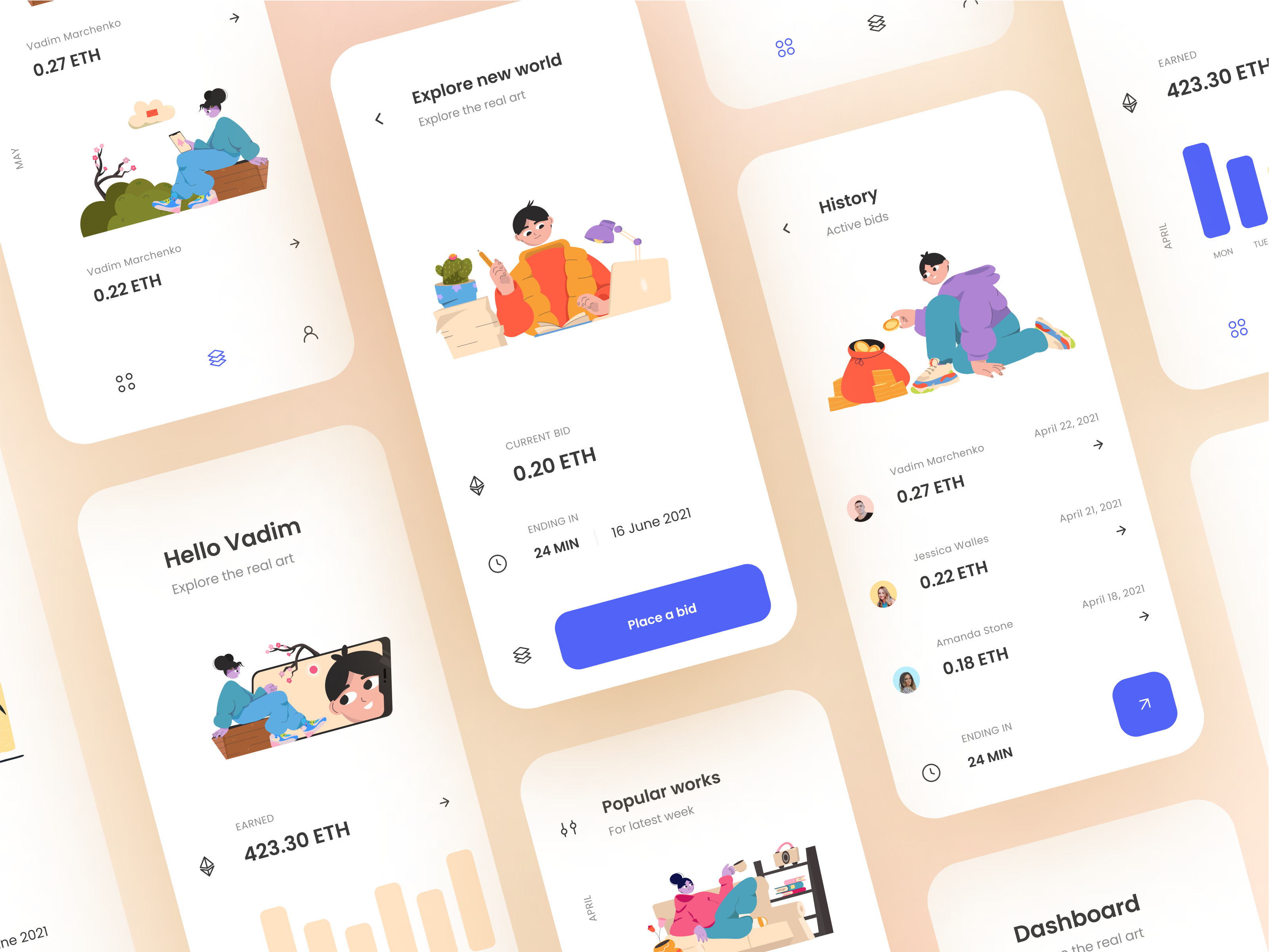 Design inspiration: web and mobile interfaces with Icons8 graphic elements: interfaces by Vadim Marchenko