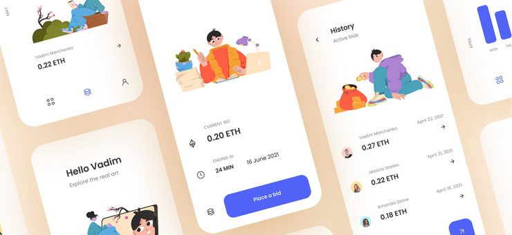 Design inspiration: web and mobile interfaces with Icons8 graphic elements