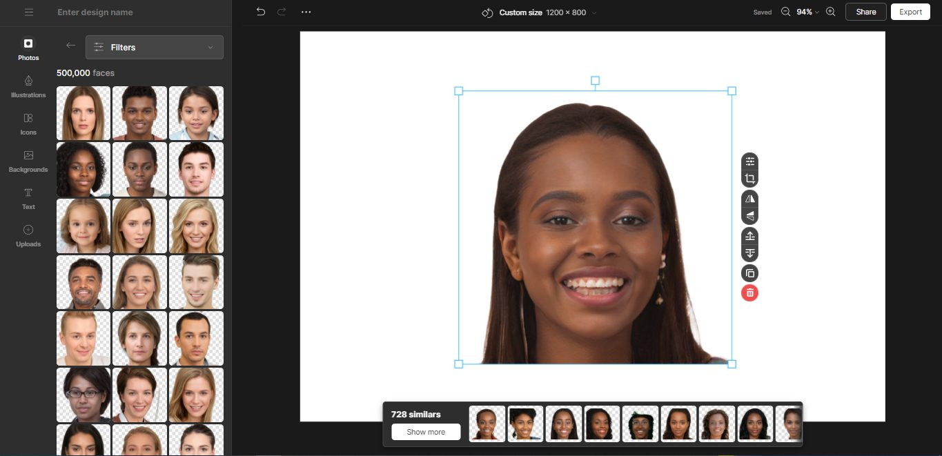Adding diversity to your designs: A view of AI faces in Mega Creator