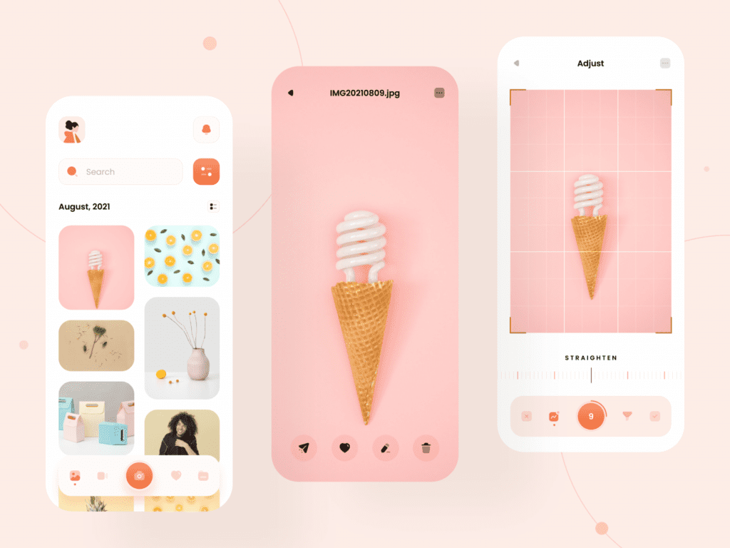 Design inspiration: UI concepts collection with Icons8 graphic elements: Photo Gallery app design by Madhura Patgavkar