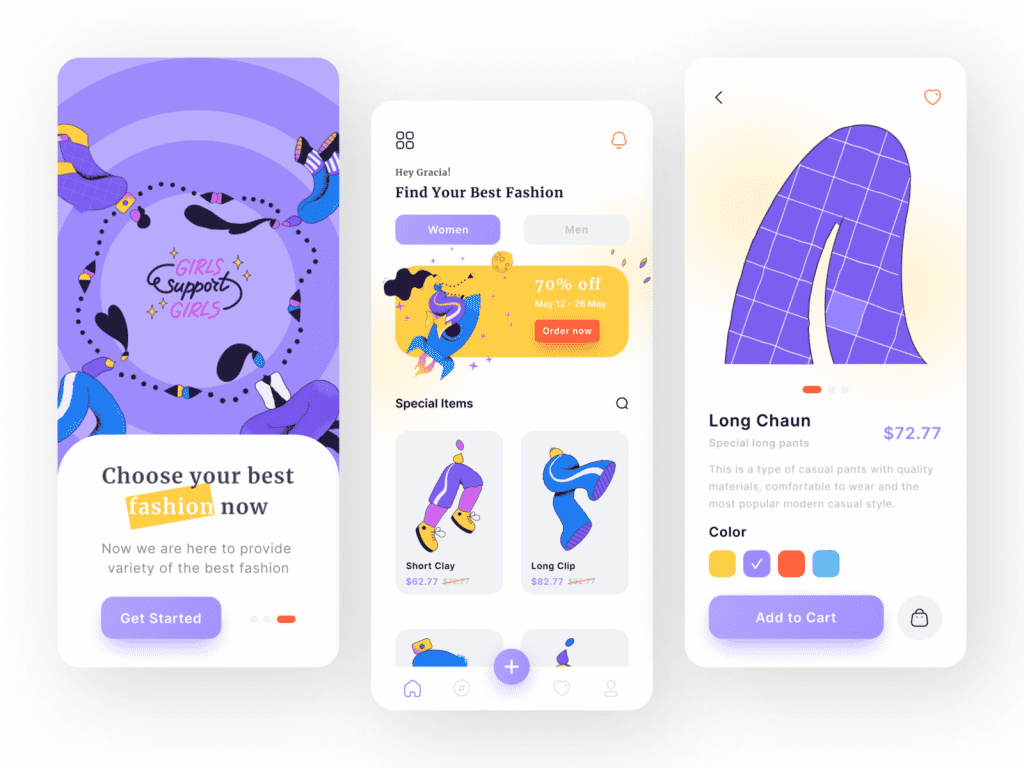 Design inspiration: UI concepts collection with Icons8 graphic elements: Mobile App of Fashion Shop by Raffialdo Bayu