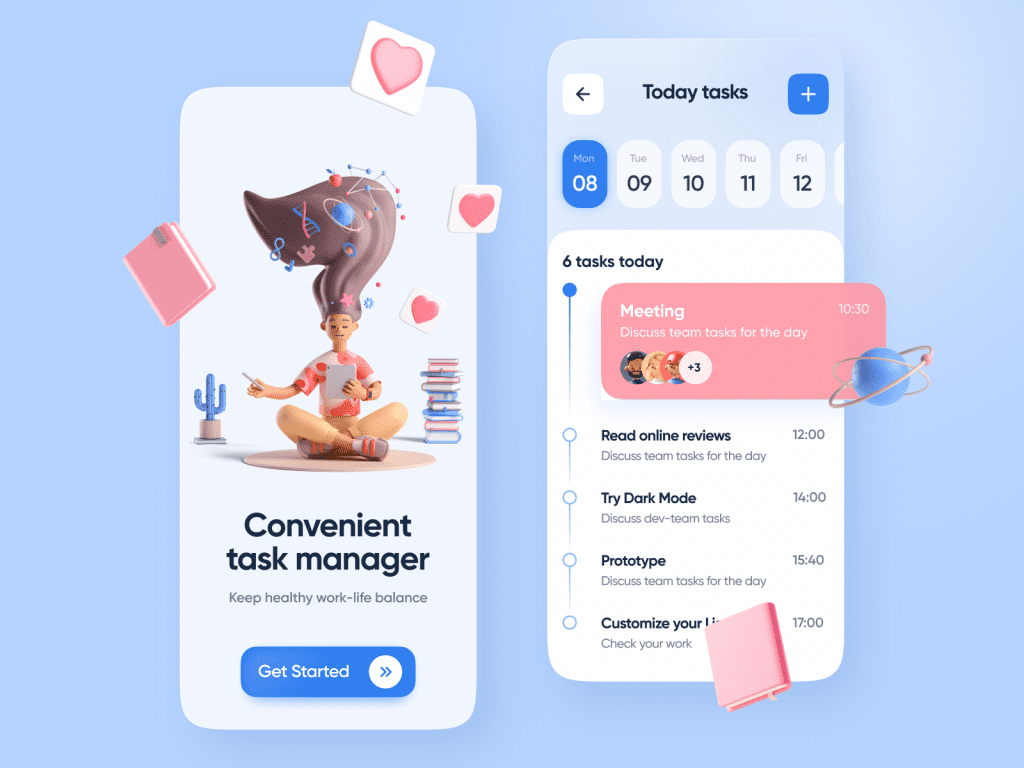 Design inspiration: UI concepts collection with Icons8 graphic elements: Convenient Task Manager concept by Ley