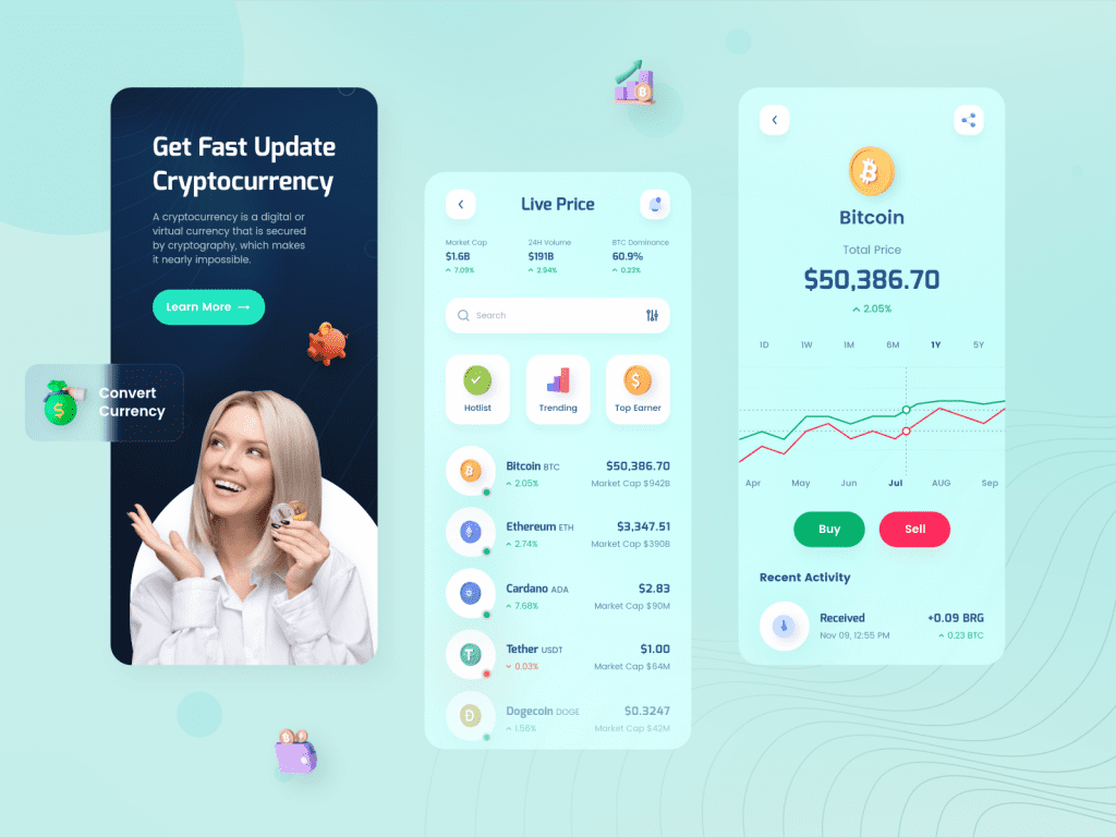 Design inspiration: UI concepts collection with Icons8 graphic elements: Cryptocurrency Mobile App Design
