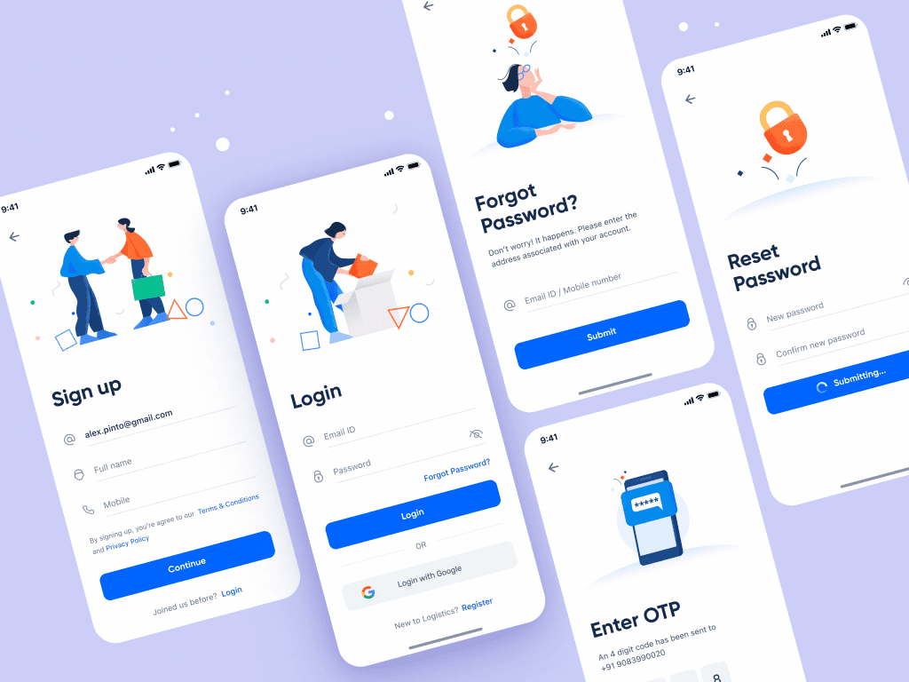 Design inspiration: UI concepts collection with Icons8 graphic elements: Login and Sign up Screens concept by Ashwith Kotian