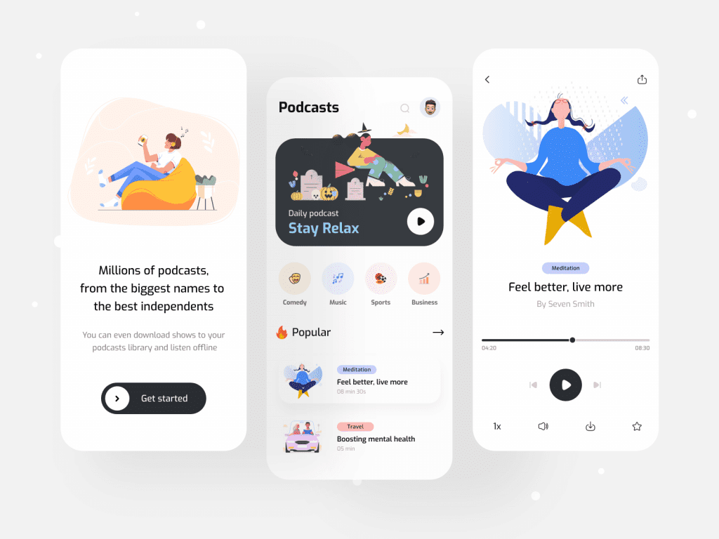 Design inspiration: UI concepts collection with Icons8 graphic elements: Podcasts Mobile App concept by Iqbal Hossain